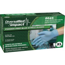 DiversaMed 4 mil Powder Free Exam Gloves - X-Large Size - For Right/Left Hand - Nitrile - Blue - Powder-free, Latex-free, Durable, Disposable, Beaded Cuff, Textured Grip, Comfortable - For Food Service, Laboratory Application, Dental, Medical, Healthcare Working - 1000 / Carton - 4 mil Thickness