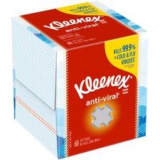 "Kleenex Anti-Viral Facial Tissues - 3 Ply - 8.20"" x 8.20"" - White - Soft, Anti-viral, Moist - For Hand - 60 Quantity Per Box - 1 Box"