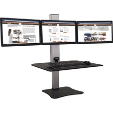 VCT DC475 Victor Electric Triple Monitor Standing Desk VCTDC475