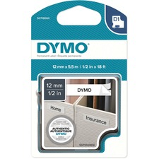 """Dymo D1 Label Tape - 15/32"""" Width x 18 3/64 ft Length - Permanent Adhesive - Rectangle - Polyester - 1 Each"""