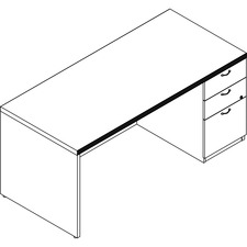 LAS71KS3066UFW - Groupe Lacasse Concept 70 Right Single Pedestal Desk