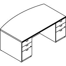 LAS72KUF4272UAC - Lacasse Double Pedestal Bow Front Desk