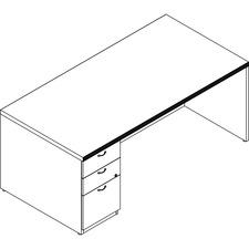 LAS71KUF3672SS - Groupe Lacasse Left Single Pedestal Desk - 2-Drawer
