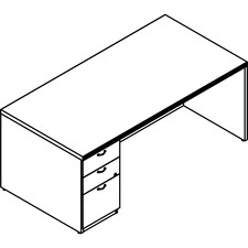 LAS72DUF3672SY - Lacasse Left Single Pedestal Desk