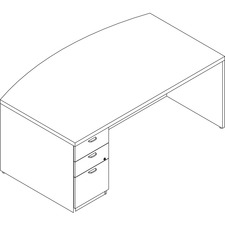 LAS71KUF4272SAT - Groupe Lacasse Left Single Pedestal Bow Front Desk - 2-Drawer