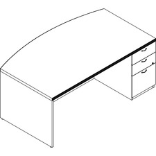 LAS71KS4272UFAG - Groupe Lacasse Concept 70 Right Single Pedestal Bow Front Desk