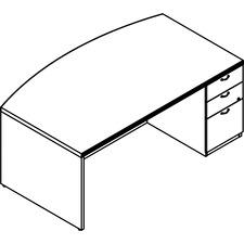 LAS72DS4272UFAW - Lacasse Right Pedestal Bow Desk