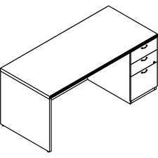 LAS72DS3066UFX - Lacasse Right Single Pedestal Desk