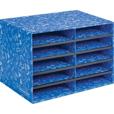 """Bankers Box Bankers Box Classroom 10 Compartment Literature Sorter, 1pk - External Dimensions: 19.5"""" Width x 12.4"""" Depth x 12.8"""" Height - Blue - For Classroom Supplies, Storage - Recycled - 1 Pack"""