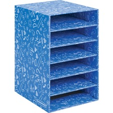 """Bankers Box Bankers Box Classroom 6 Compartment Literature Sorter, 1pk - External Dimensions: 11.9"""" Width x 13.3"""" Depth x 18"""" Height - Media Size Supported: Letter 8.50"""" (215.90 mm) x 11"""" (279.40 mm) - Blue - For Classroom Supplies, Storage - Recycled - 1"""