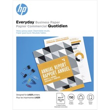 """HP Laser Photo Paper - Letter - 8 1/2"""" x 11"""" - 32 lb Basis Weight - 120 g/m² Grammage - Glossy - 1 Pack - White"""