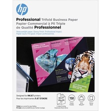 """HP Inkjet Brochure/Flyer Paper - Letter - 8 1/2"""" x 11"""" - 48 lb Basis Weight - 180 g/m² Grammage - Glossy - 150 / Pack - White"""