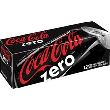 Coke Zero Canned Carbonated Beverage - Ready-to-Drink Diet - Cola Flavor - 4.26 L - 12 / Carton / Can