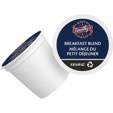Timothy's Breakfast Blend Coffee K-Cup - Compatible with Keurig K-Cup Brewer - Caffeinated - Breakfast Blend, Costa Rica, Guatemalan, Smoky, Arabica - Light - Per Pod - 24 / Box
