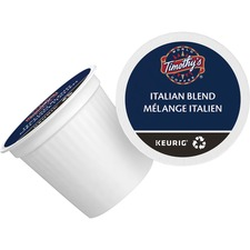Timothy's Italian Blend Coffee K-Cup - Compatible with Keurig K-Cup Brewer - Caffeinated - Italian Blend, Arabica, Smoky - Medium - Per Pod - 24 / Box