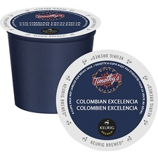 Timothy's Colombian Excelencia Coffee K-Cup - Compatible with Keurig K-Cup Brewer - Caffeinated - Colombian Excelencia, Citrus, Arabica - Medium - Per Pod - 24 / Box