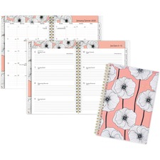 """At-A-Glance Betty Planner - Small Size - Weekly, Monthly - 1 Year - January 2020 till December 2020 - 1 Week, 1 Month Double Page Layout - 6 1/4"""" x 8 1/2"""" Sheet Size - Twin Wire - Pink - Paper, Poly - Bilingual, Tear-off, Removable Page, Tabbed, Reference"""