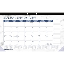 "Blueline Monthly Desk Pad Marble 2020 - Bilingual - Monthly, Yearly - 1 Year - January 2020 till December 2020 - 1 Month Single Page Layout - 17 3/4"" x 10 7/8"" - Desk - Clear - Chipboard, Paper - Ruled Daily Block, Reinforced, Tear-off, Bilingual, Printed"