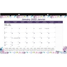 "Blueline Monthly Desk Pad Passion 2020 - Bilingual - Academic - Monthly, Yearly - January 2020 till December 2020 - 1 Month Single Page Layout - 17 3/4"" x 10 7/8"" - Desk - Clear - Chipboard, Paper - Printed, Ruled Daily Block, Tear-off, Bilingual, Eco-fri"