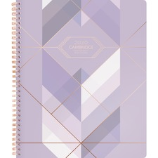 """At-A-Glance Cambridge Purple Fractal Weekly-Monthly Planner - Large Size - Julian Dates - Weekly, Monthly - 1 Year - January 2020 till December 2020 - 1 Week, 1 Month Double Page Layout - 8 1/2"""" x 11"""" Sheet Size - Twin Wire - Purple, Rose Gold - Foil - Sm"""