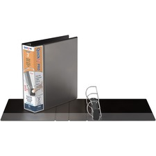 """QuickFit PRO Single Touch View Binder - 3"""" Binder Capacity - Letter - 8 1/2"""" x 11"""" Sheet Size - 600 Sheet Capacity - D-Ring Fastener(s) - Inside Front & Back Pocket(s) - Polypropylene - Black - Recycled - Space Saving, Antimicrobial, Open and Closed Triggers, Gap-free Ring, Locking Ring, Heavy Duty, Ink-transfer Resistant, Clear Overlay, Hinged, Non-stick, Long Lasting - 1 Each"""