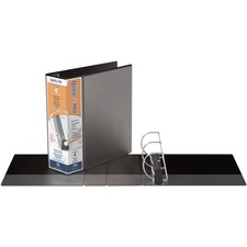 """QuickFit PRO Single Touch View Binder - 4"""" Binder Capacity - Letter - 8 1/2"""" x 11"""" Sheet Size - 700 Sheet Capacity - D-Ring Fastener(s) - Inside Front & Back Pocket(s) - Polypropylene - Black - Recycled - Space Saving, Antimicrobial, Open and Closed Triggers, Gap-free Ring, Locking Ring, Heavy Duty, Ink-transfer Resistant, Clear Overlay, Hinged, Non-stick, Long Lasting - 1 Each"""