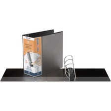 """QuickFit PRO Single Touch View Binder - 5"""" Binder Capacity - Letter - 8 1/2"""" x 11"""" Sheet Size - 1000 Sheet Capacity - D-Ring Fastener(s) - Inside Front & Back Pocket(s) - Polypropylene - Black - Recycled - Space Saving, Antimicrobial, Open and Closed Triggers, Gap-free Ring, Locking Ring, Heavy Duty, Ink-transfer Resistant, Clear Overlay, Hinged, Non-stick, Long Lasting - 1 Each"""