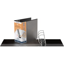 """QuickFit PRO Single Touch View Binder - 6"""" Binder Capacity - Letter - 8 1/2"""" x 11"""" Sheet Size - 1350 Sheet Capacity - D-Ring Fastener(s) - Inside Front & Back Pocket(s) - Polypropylene - Black - Recycled - Space Saving, Antimicrobial, Open and Closed Triggers, Gap-free Ring, Locking Ring, Heavy Duty, Ink-transfer Resistant, Clear Overlay, Hinged, Non-stick, Long Lasting - 1 Each"""