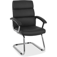 HON Traction Seating Leather Guest Chair - SofThread Leather Seat - Aluminum Frame - Cantilever Base - Black - 1 Each