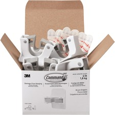 """Command Broom Grippers - 1.81 kg Capacity - 2.60"""" (66.04 mm) Length - for Broom - Plastic - White, Gray"""