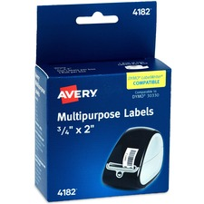 Avery® Thermal Return Address Labels - Permanent Adhesive Length - Rectangle - Thermal - White - 500 / Box