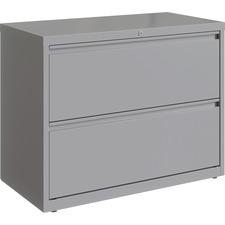 "Lorell 36"" Silver Lateral File - 2-Drawer - 36"" x 18.6"" x 28"" - 2 x Drawer(s) for File - Letter, Legal, A4 - Hanging Rail, Magnetic Label Holder, Locking Drawer, Locking Bar, Ball Bearing Slide, Reinforced Base, Adjustable Leveler, Interlocking, Anti-tip - Silver - Recycled"
