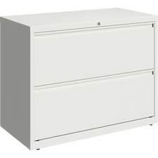 """Lorell 36"""" White Lateral File - 2-Drawer - 18.6"""" x 28"""" x 36"""" - 2 x Drawer(s) for File - Lateral - Hanging Rail, Magnetic Label Holder, Removable Lock, Locking Bar, Ball-bearing Suspension, Reinforced Base, Leveling Glide, Interlocking, Anti-tip - White - Recycled"""