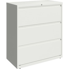 "Lorell 36"" White Lateral File - 3-Drawer - 36"" x 18.6"" x 40.3"" - 3 x Drawer(s) for File - Letter, Legal, A4 - Lateral - Hanging Rail, Magnetic Label Holder, Locking Drawer, Locking Bar, Ball Bearing Slide, Reinforced Base, Adjustable Leveler, Interlocking, Anti-tip - White - Recycled"