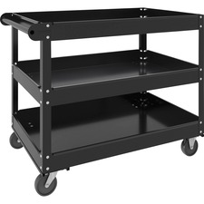 "Lorell 3-shelf Utility Cart - 3 Shelf - 181.44 kg Capacity - 4 Casters - Steel - x 24"" Width x 30"" Depth x 32"" Height - Black - 1 Each"