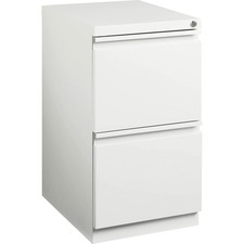"""Lorell File/File Mobile Pedestal - 15"""" x 19.9"""" x 27.8"""" for File - Letter - Mobility, Ball-bearing Suspension, Removable Lock, Pull-out Drawer, Recessed Drawer, Casters, Key Lock - White - Steel - Recycled"""
