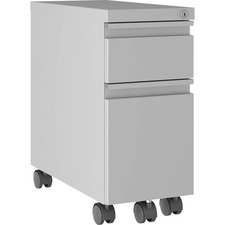 """Lorell Slim Mobile Pedestal - 10"""" x 19.9"""" x 21.8"""" for File, Box - Letter, Legal - Mobility, Storage Space, Anti-tip, Hanging Rail, Locking Drawer, Compact, Key Lock - Silver - Metal - Recycled"""