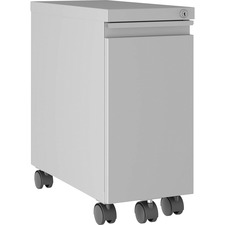 """Lorell Slim Mobile Pedestal - 10"""" x 19.9"""" x 21.8"""" for File, Box - Letter, Legal - Mobility, Storage Space, Anti-tip, Hanging Rail, Lockable, Compact, Key Lock - Silver - Metal - Recycled"""