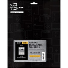 AVE 61524 Avery PermaTrack Metallic Silver Asset Tag Labels AVE61524