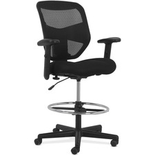 HON Prominent Seating High-back Task Stool - Black Fabric Seat - High Back - 5-star Base - Black - 1 Each