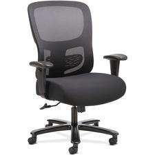 Sadie Seating Adjustable Arm Big/Tall Mesh Task Chair - Black Fabric, Plush Seat - Black Mesh Back - 5-star Base - Black - 1 Each
