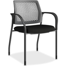 HON Ignition Charcoal ReActiv Back Stacking Chair - Foam Seat - Charcoal Back - Black Steel Frame - Four-legged Base - Black - Fabric - 1 Each