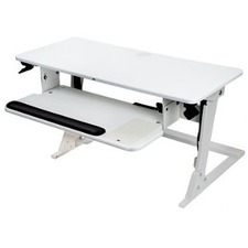 """3M Sir/Stand Desk White - Up to 24"""" Screen Support - 15.88 kg Load Capacity - 23.20"""" (589.28 mm) Height x 35.40"""" (899.16 mm) Width x 6.20"""" (157.48 mm) Depth - Desktop - White"""