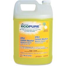 Ecopure EP63 Lemon Neutral Cleaner - Liquid - 135.3 fl oz (4.2 quart) - Fresh Lemon Scent - 1 Each - Yellow