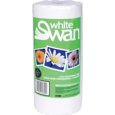 """White Swan Paper Towels - 2 Ply - 8.6"""" x 10.9"""" - White - Paper - Eco-friendly, Absorbent, Perforated - For Kitchen, Hand - 90 - 1 / Roll"""