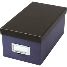 """Esselte 4x8 Index Card Storage Box - External Dimensions: 11.5"""" Length x 6.5"""" Width x 5"""" Height - Media Size Supported: Index Card 4"""" (101.60 mm) x 6"""" (152.40 mm) - 1000 x Index Card (4"""" x 6"""") - Indigo, Black - For Index Card, Recipe, Photo, Notes - 1 Each"""