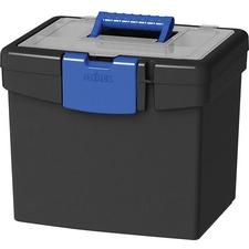 "Storex File Storage Box with Lid - XL Storage - External Dimensions: 10.9"" Length x 13.3"" Width x 11"" Height - 30 lb - Padlock, Latch Lock Closure - Plastic - Black, Blue - For File, Folder - 1 Each"