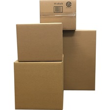 """Spicers Paper Shipping Case - External Dimensions: 11"""" Width x 9"""" Depth x 9"""" Height - Flap Closure - Corrugated - Kraft - Recycled - 25 / Pack"""