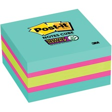 """Post-it® Super Sticky Notes Cubes - 3"""" x 3"""" - Square - 360 Sheets per Pad - Pink, Bright Blue, Green, Aqua Wave, Fuchsia - Paper - Sticky, Recyclable, Removable, Adhesive - 1 / Pack"""