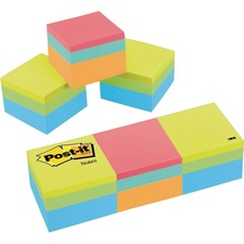 """Post-it® Adhesive Note - 2"""" x 2"""" - Square - 400 Sheets per Pad - Blue, Green, Orange, Pink, Yellow - Sticky, Removable, Adhesive, Recyclable - 3 / Pack"""